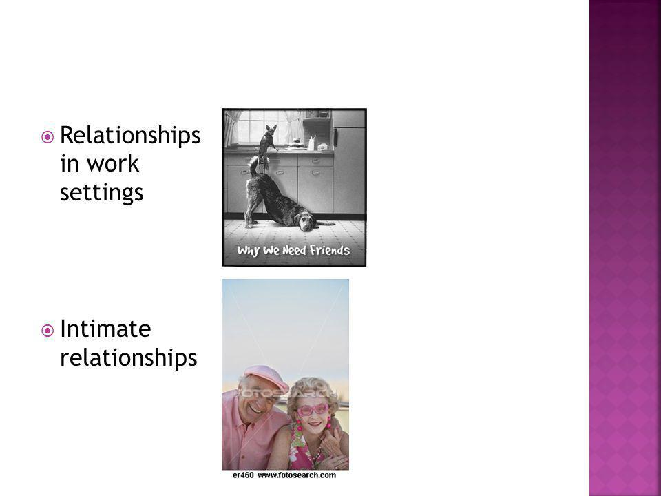 Relationships in work settings Intimate relationships