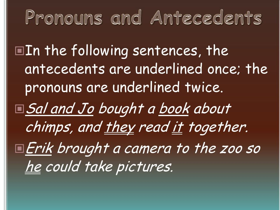 In the following sentences, the antecedents are underlined once; the pronouns are underlined twice.