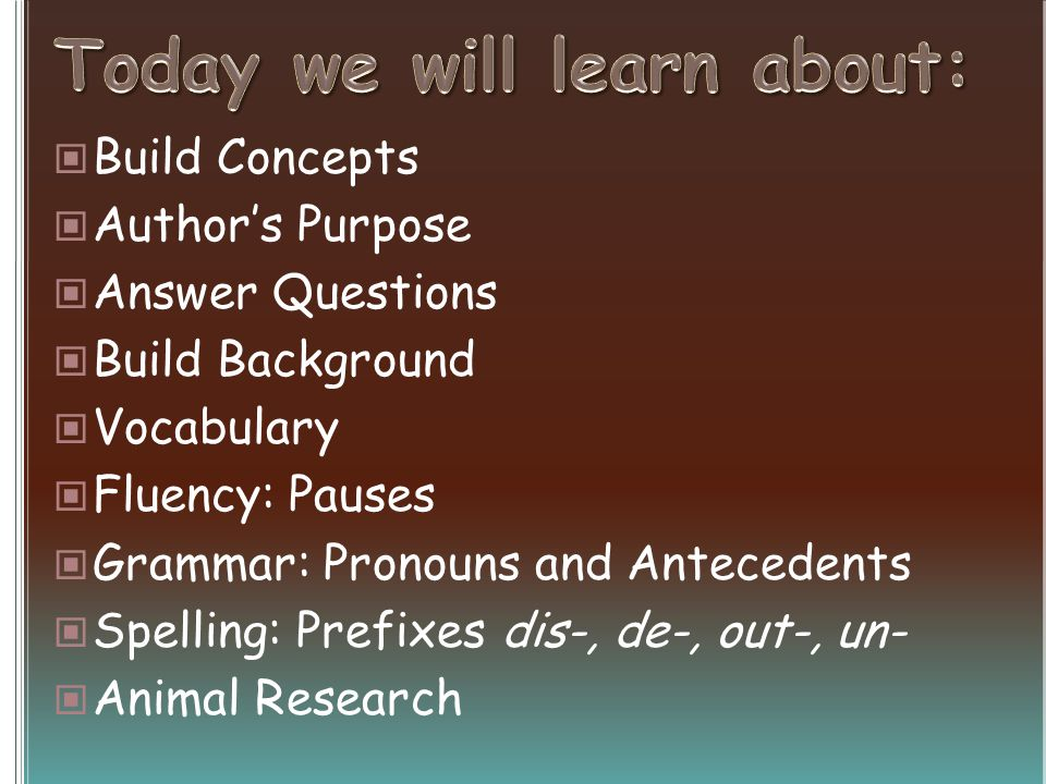 Build Concepts Authors Purpose Answer Questions Build Background Vocabulary Fluency: Pauses Grammar: Pronouns and Antecedents Spelling: Prefixes dis-, de-, out-, un- Animal Research