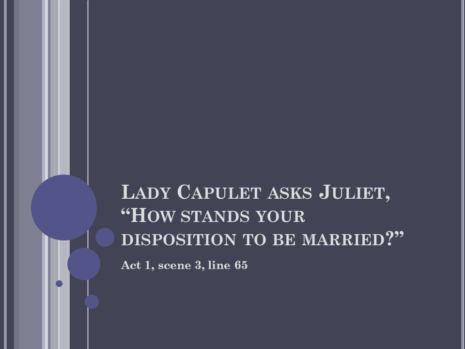 L ADY C APULET ASKS J ULIET, H OW STANDS YOUR DISPOSITION TO BE MARRIED ? Act 1, scene 3, line 65