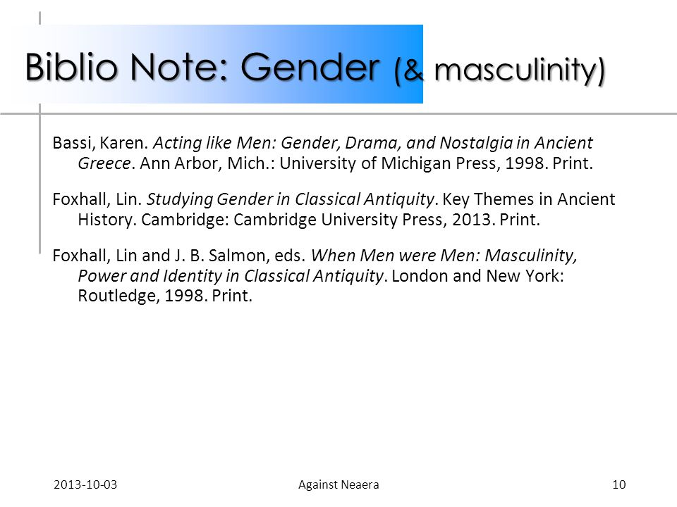 Biblio Note: Gender (& masculinity) Bassi, Karen. Acting like Men: Gender, Drama, and Nostalgia in Ancient Greece. Ann Arbor, Mich.: University of Mic