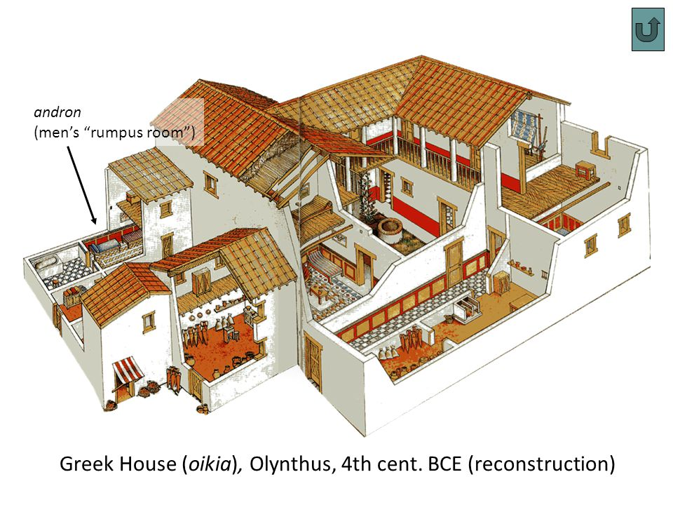 Greek House (oikia), Olynthus, 4th cent. BCE (reconstruction) andron (mens rumpus room)