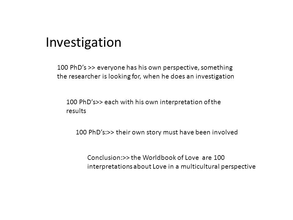 Investigation 100 PhDs >> everyone has his own perspective, something the researcher is looking for, when he does an investigation 100 PhDs>> each with his own interpretation of the results 100 PhDs:>> their own story must have been involved Conclusion:>> the Worldbook of Love are 100 interpretations about Love in a multicultural perspective