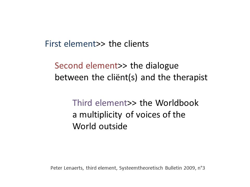 First element>> the clients Second element>> the dialogue between the cliënt(s) and the therapist Third element>> the Worldbook a multiplicity of voices of the World outside Peter Lenaerts, third element, Systeemtheoretisch Bulletin 2009, n°3