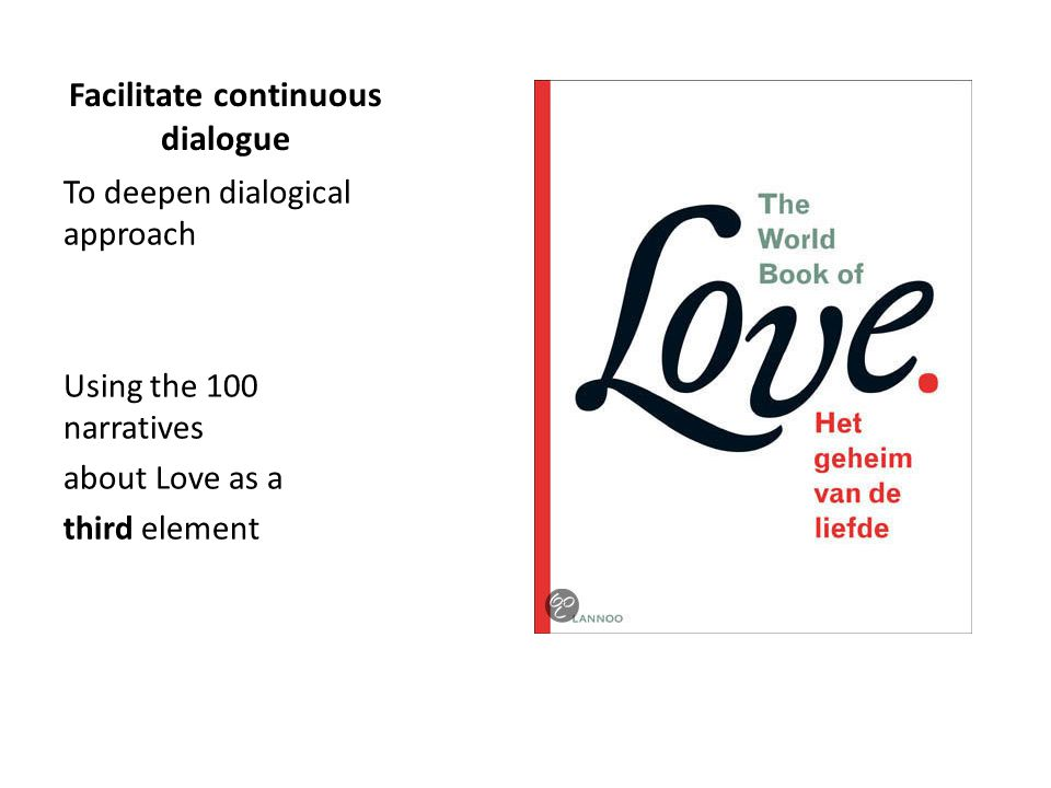 Facilitate continuous dialogue To deepen dialogical approach Using the 100 narratives about Love as a third element