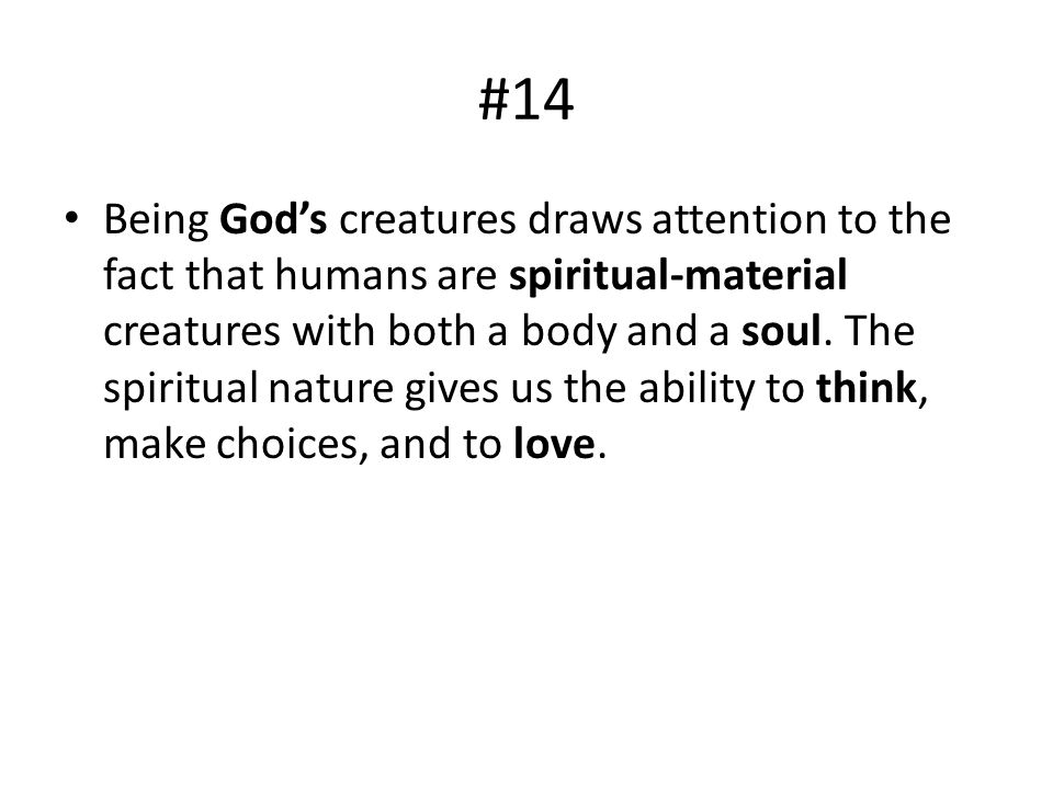 #14 Being Gods creatures draws attention to the fact that humans are spiritual-material creatures with both a body and a soul. The spiritual nature gi