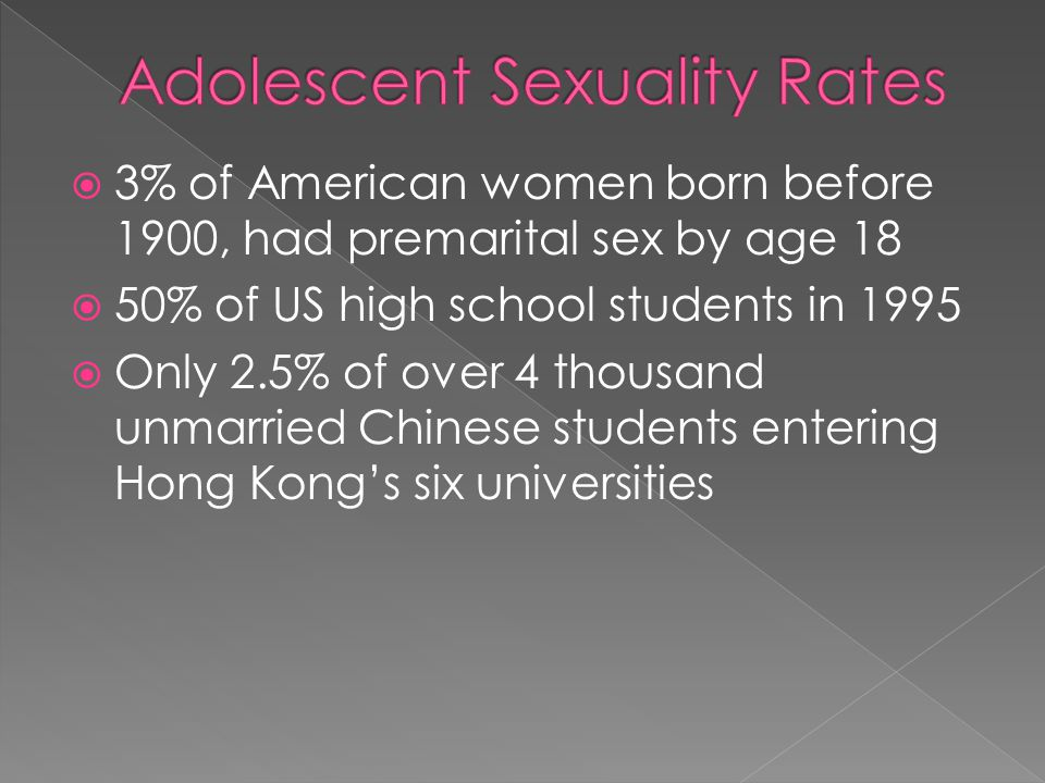 3% of American women born before 1900, had premarital sex by age 18 50% of US high school students in 1995 Only 2.5% of over 4 thousand unmarried Chin