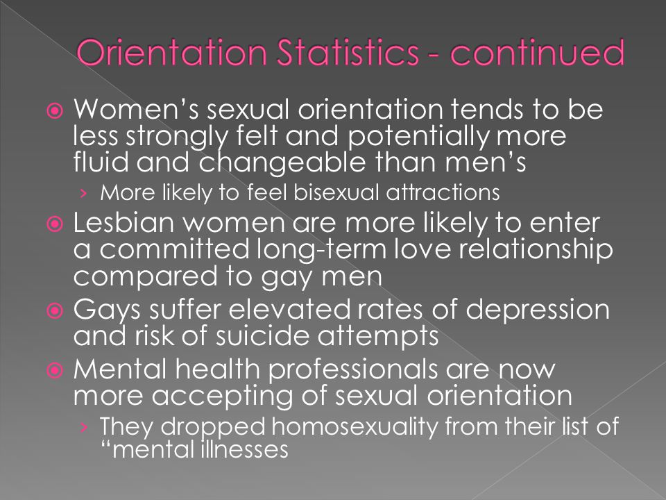 Womens sexual orientation tends to be less strongly felt and potentially more fluid and changeable than mens More likely to feel bisexual attractions