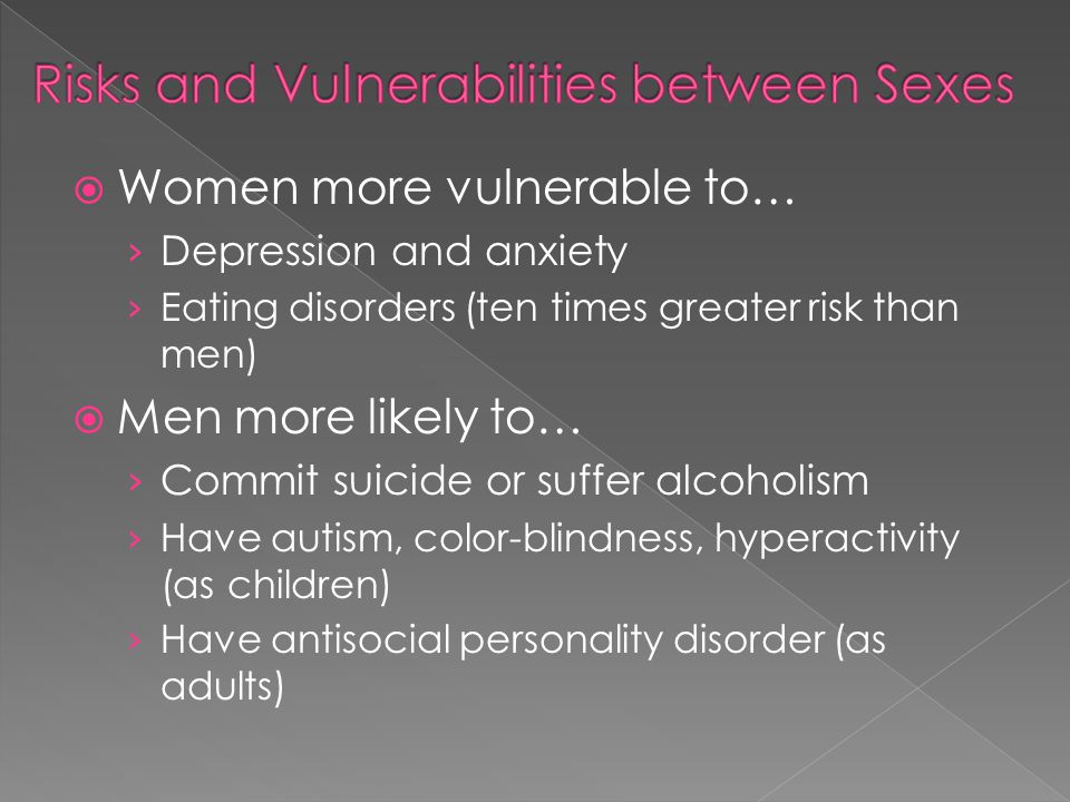 Women more vulnerable to… Depression and anxiety Eating disorders (ten times greater risk than men) Men more likely to… Commit suicide or suffer alcoh