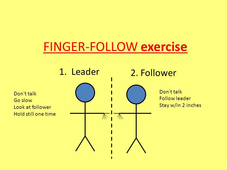 1. Leader 2. Follower Don t talk Go slow Look at follower Hold still one time Don t talk Follow leader Stay w/in 2 inches FINGER-FOLLOW exercise
