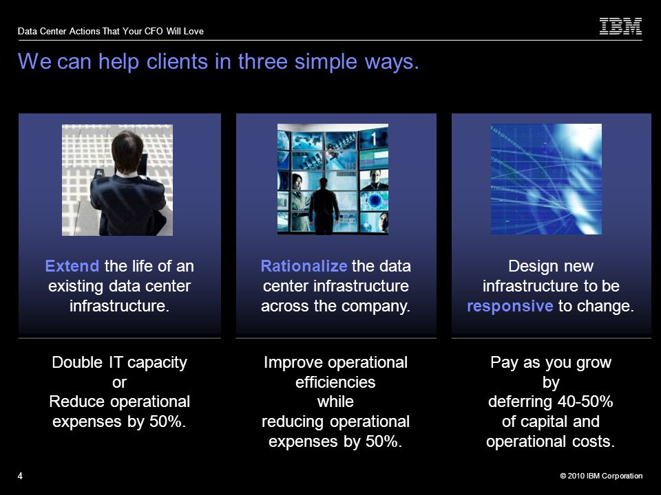 © 2010 IBM Corporation Data Center Actions That Your CFO Will Love 4 We can help clients in three simple ways.