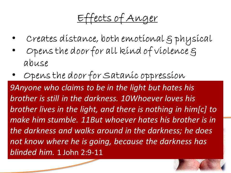 Love? How Deep is Your Effects of Anger Creates distance, both emotional & physical Opens the door for all kind of violence & abuse Opens the door for