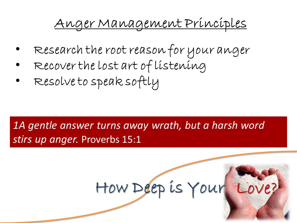 Love? How Deep is Your Anger Management Principles Research the root reason for your anger Recover the lost art of listening Resolve to speak softly 1
