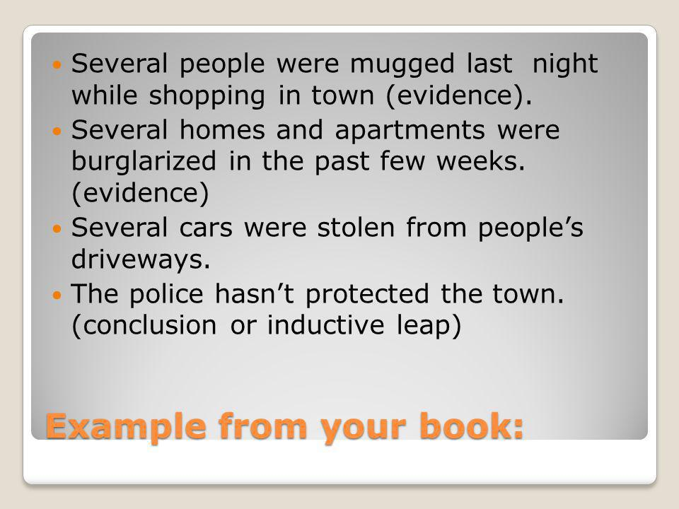 Example from your book: Several people were mugged last night while shopping in town (evidence).