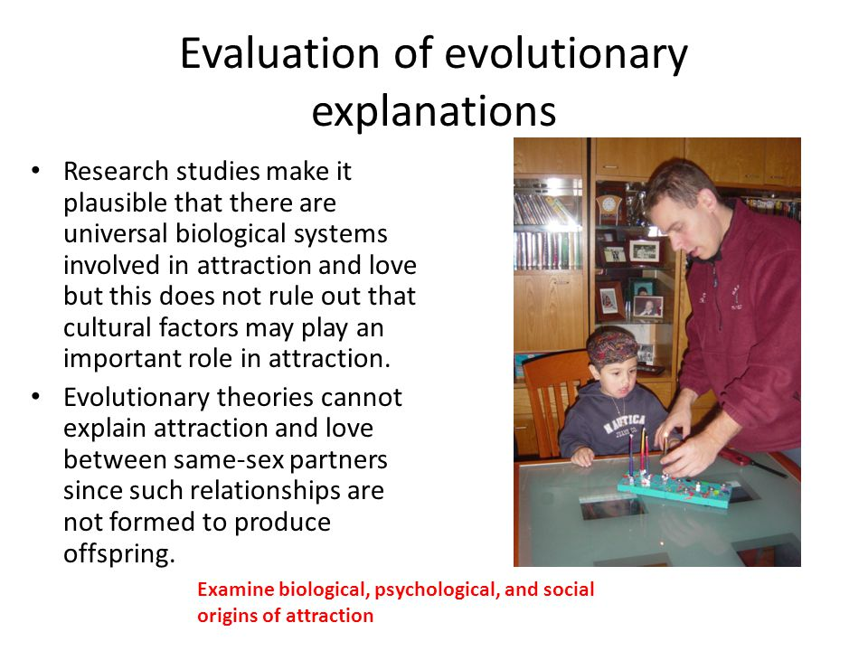 Evaluation of evolutionary explanations Research studies make it plausible that there are universal biological systems involved in attraction and love