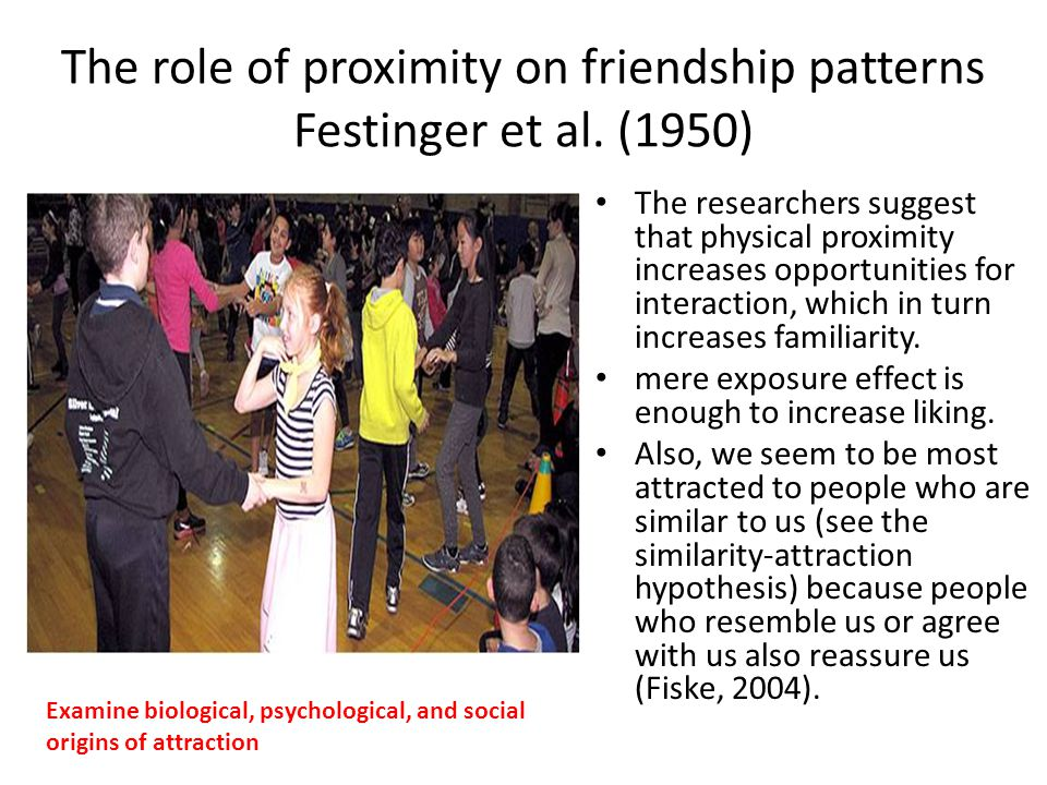 The role of proximity on friendship patterns Festinger et al. (1950) The researchers suggest that physical proximity increases opportunities for inter