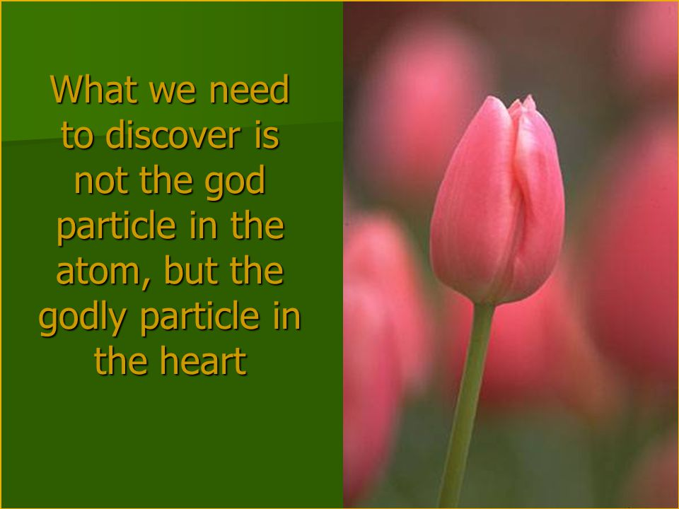 What we need to discover is not the god particle in the atom, but the godly particle in the heart