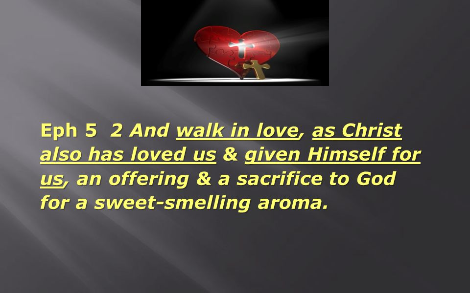 Eph 5 2 And walk in love, as Christ also has loved us & given Himself for us, an offering & a sacrifice to God for a sweet-smelling aroma.