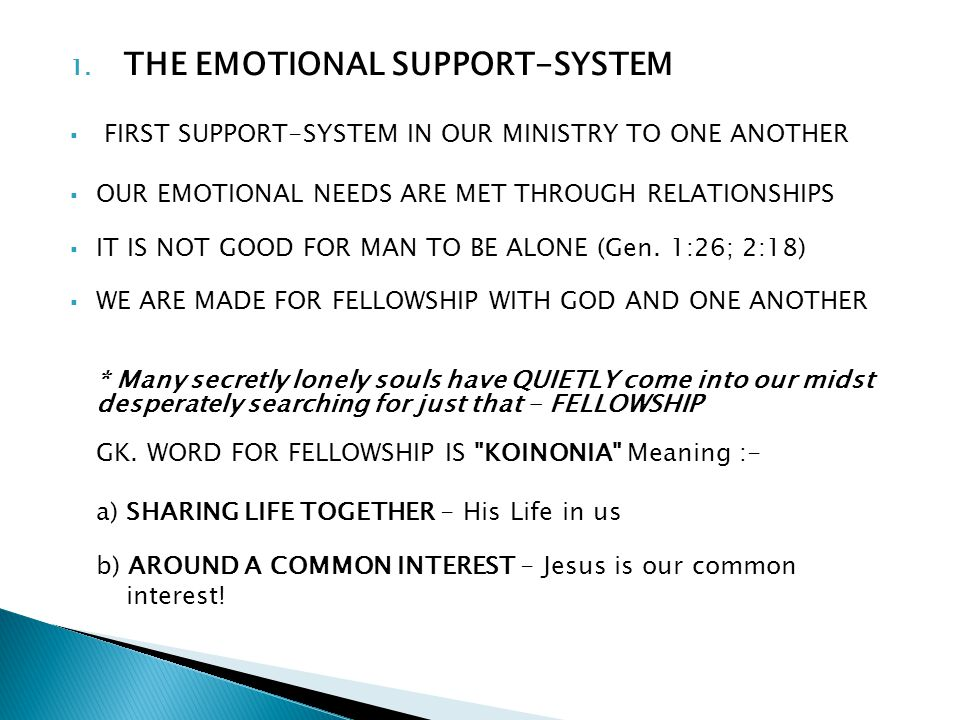 1. THE EMOTIONAL SUPPORT-SYSTEM FIRST SUPPORT-SYSTEM IN OUR MINISTRY TO ONE ANOTHER OUR EMOTIONAL NEEDS ARE MET THROUGH RELATIONSHIPS IT IS NOT GOOD F