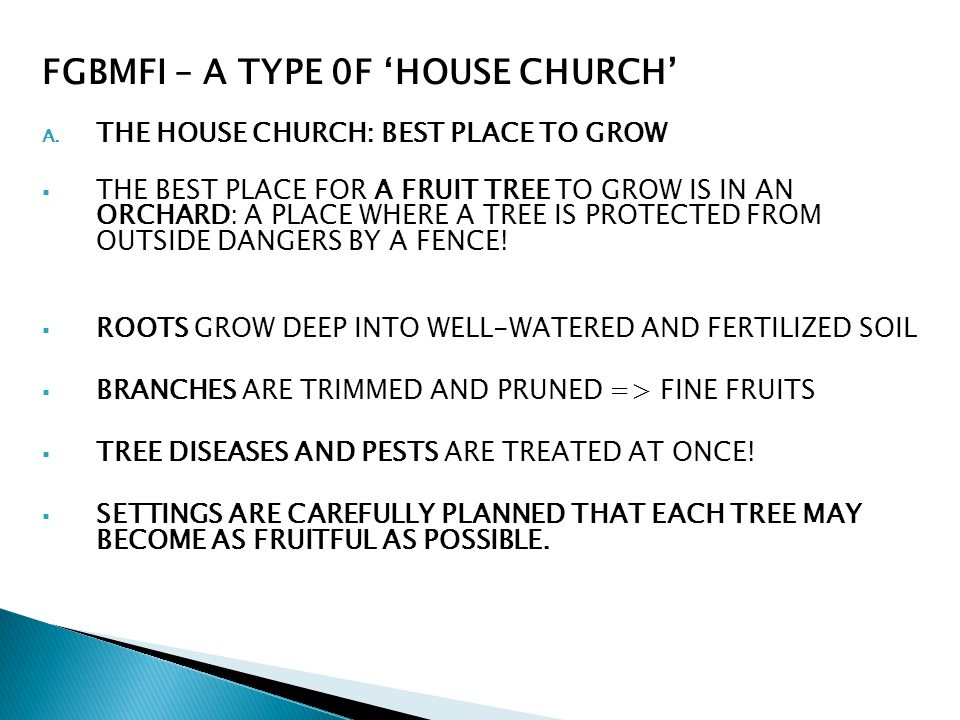 FGBMFI – A TYPE 0F HOUSE CHURCH A. THE HOUSE CHURCH: BEST PLACE TO GROW THE BEST PLACE FOR A FRUIT TREE TO GROW IS IN AN ORCHARD: A PLACE WHERE A TREE
