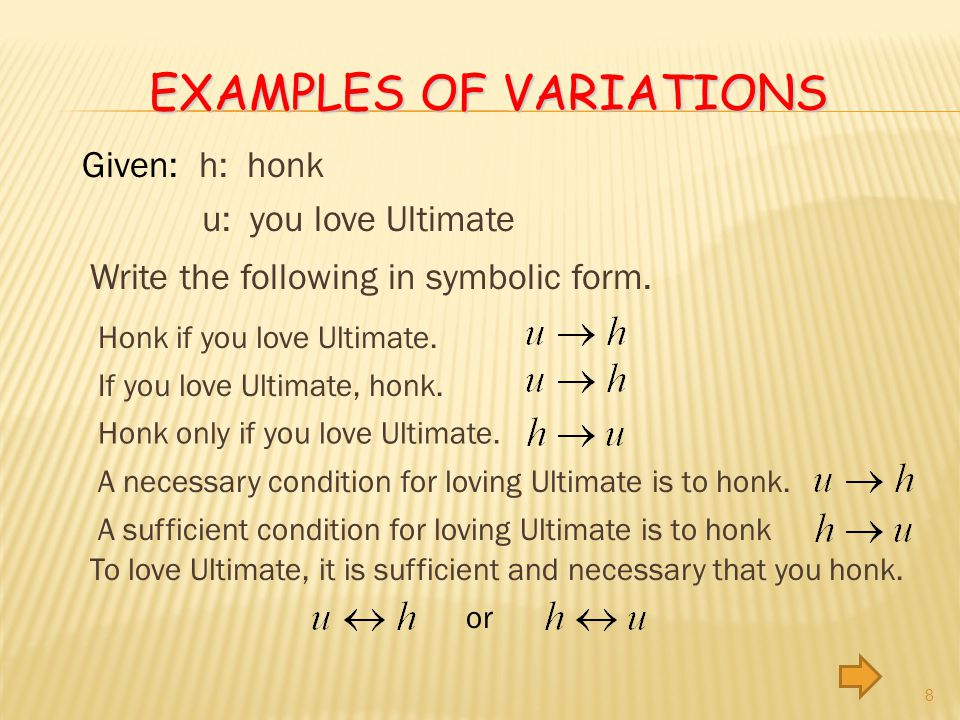 EXAMPLES OF VARIATIONS 8 Given: h: honk u: you love Ultimate Write the following in symbolic form.