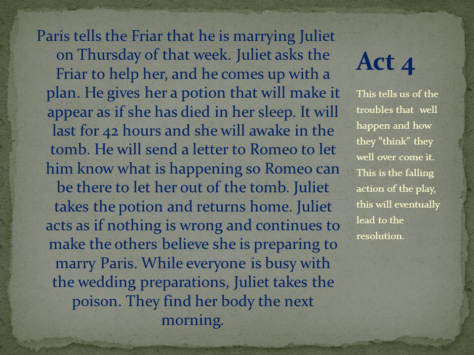 Paris tells the Friar that he is marrying Juliet on Thursday of that week.