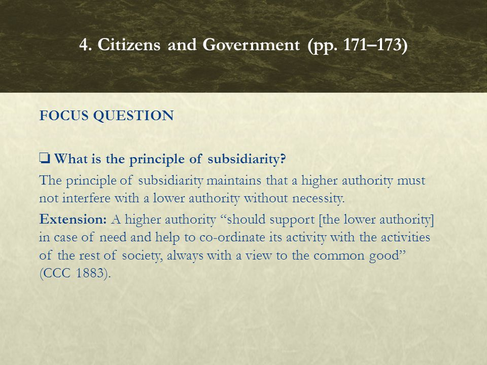 FOCUS QUESTION What is the principle of subsidiarity? The principle of subsidiarity maintains that a higher authority must not interfere with a lower