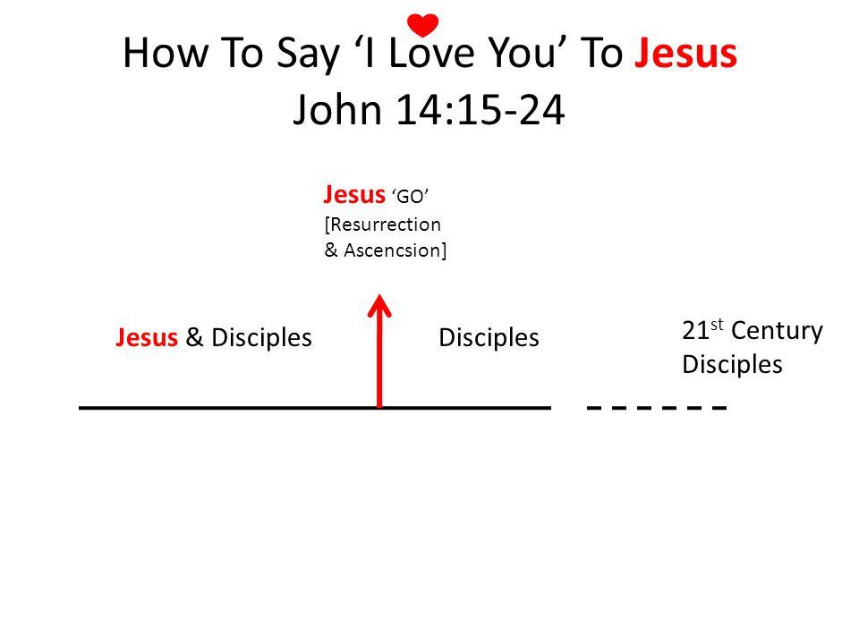 Jesus & DisciplesDisciples Jesus GO [Resurrection & Ascencsion] 21 st Century Disciples How To Say I Love You To Jesus John 14:15-24