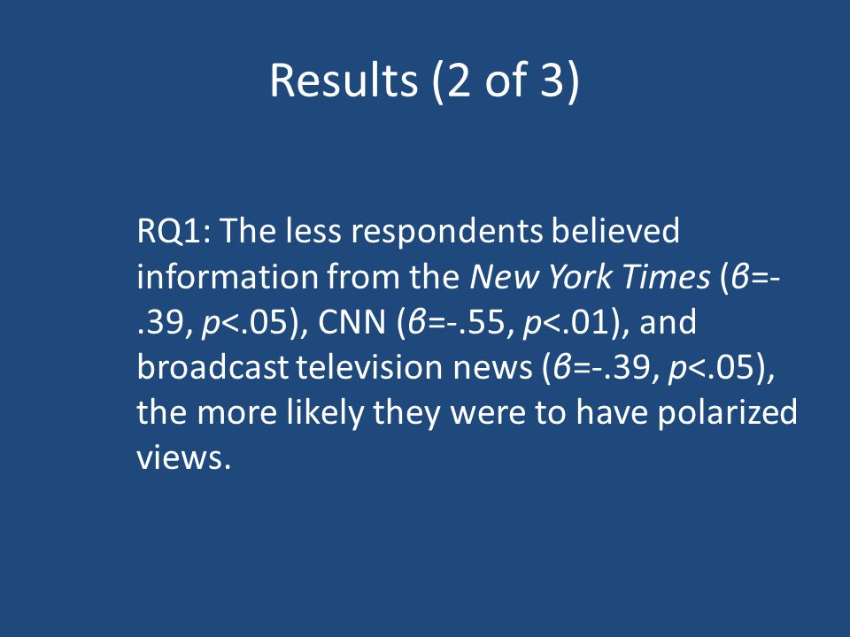 Results (2 of 3) RQ1: The less respondents believed information from the New York Times (β=-.39, p<.05), CNN (β=-.55, p<.01), and broadcast television news (β=-.39, p<.05), the more likely they were to have polarized views.