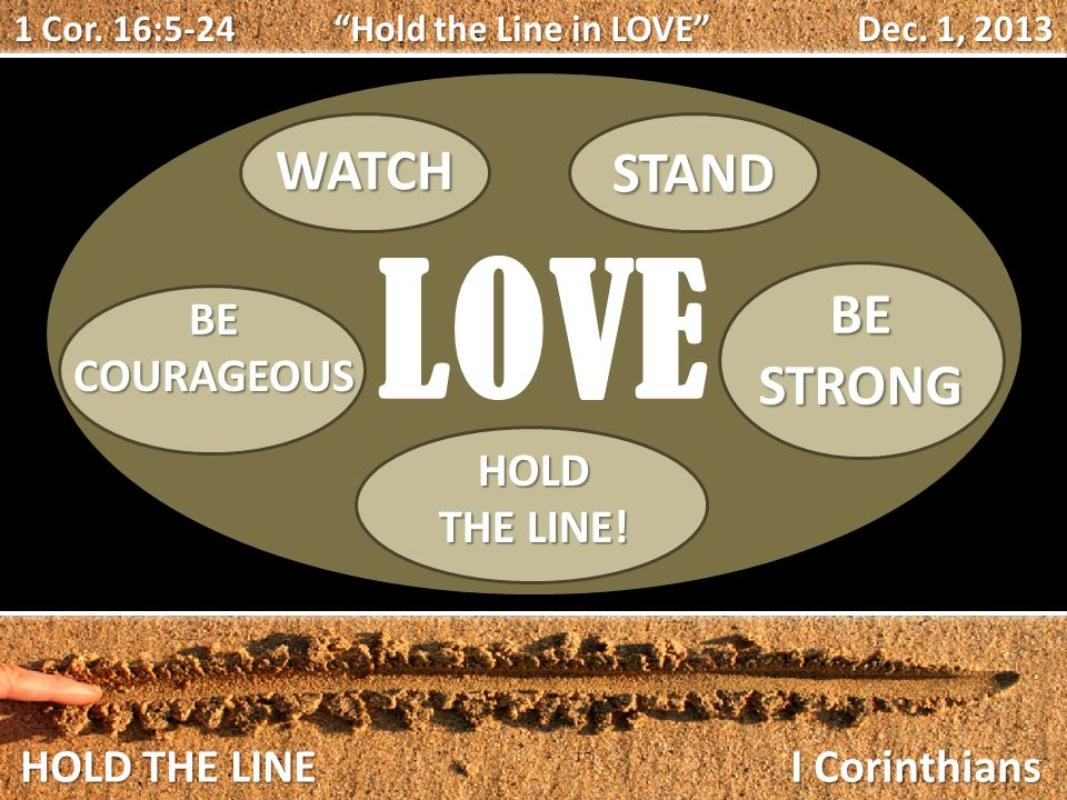 HOLD THE LINE I Corinthians 1 Cor. 16:5-24 Hold the Line in LOVE Dec.