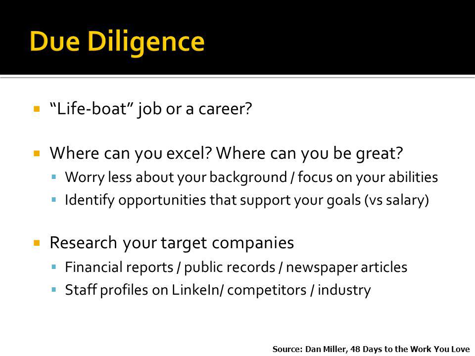 Life-boat job or a career. Where can you excel. Where can you be great.