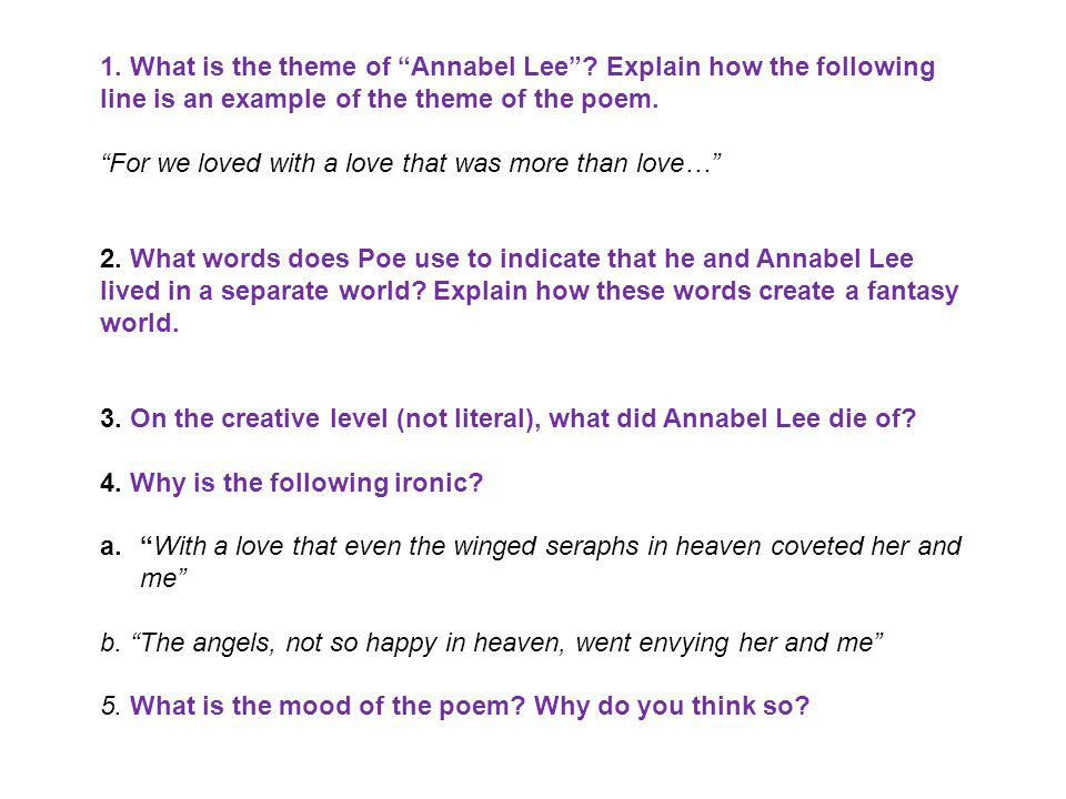 1. What is the theme of Annabel Lee? Explain how the following line is an example of the theme of the poem. For we loved with a love that was more tha