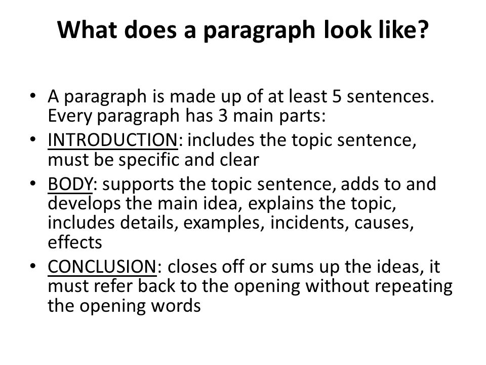 What does a paragraph look like.A paragraph is made up of at least 5 sentences.
