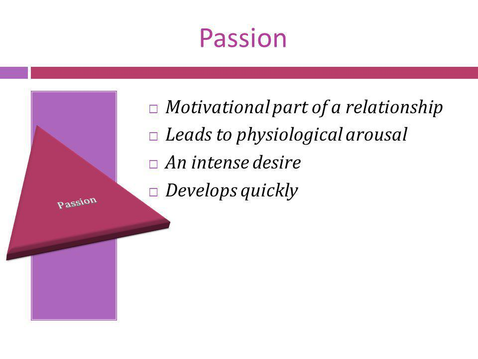 Passion Motivational part of a relationship Leads to physiological arousal An intense desire Develops quickly