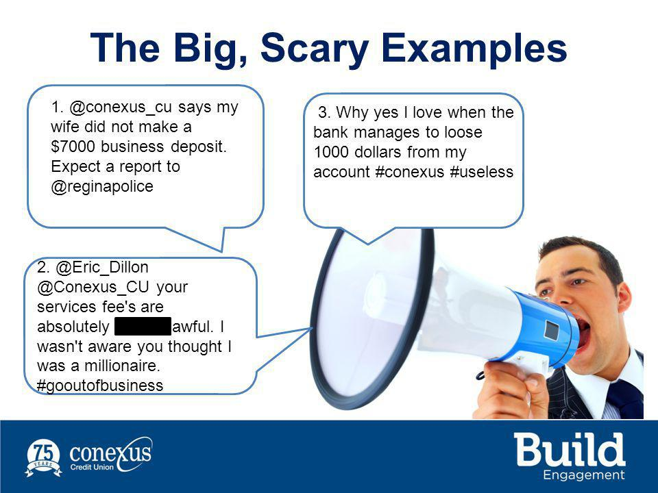 The Big, Scary Examples 1.@conexus_cu says my wife did not make a $7000 business deposit.