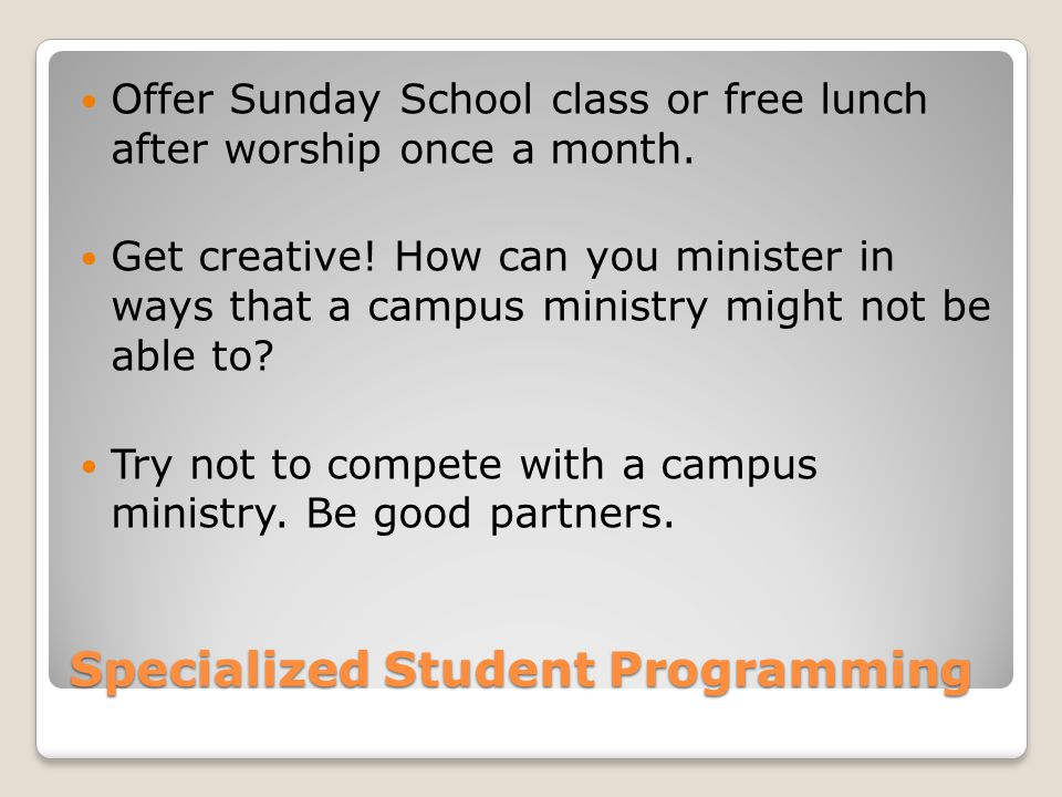 Specialized Student Programming Offer Sunday School class or free lunch after worship once a month. Get creative! How can you minister in ways that a