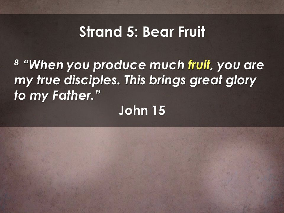 Strand 5: Bear Fruit 8 When you produce much fruit, you are my true disciples. This brings great glory to my Father. John 15