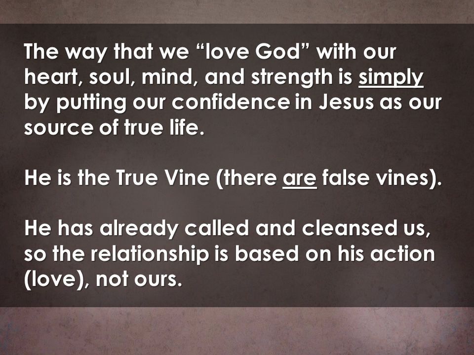 The way that we love God with our heart, soul, mind, and strength is simply by putting our confidence in Jesus as our source of true life. He is the T