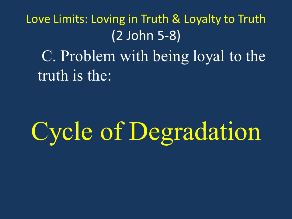 Love Limits: Loving in Truth & Loyalty to Truth (2 John 5-8) C.