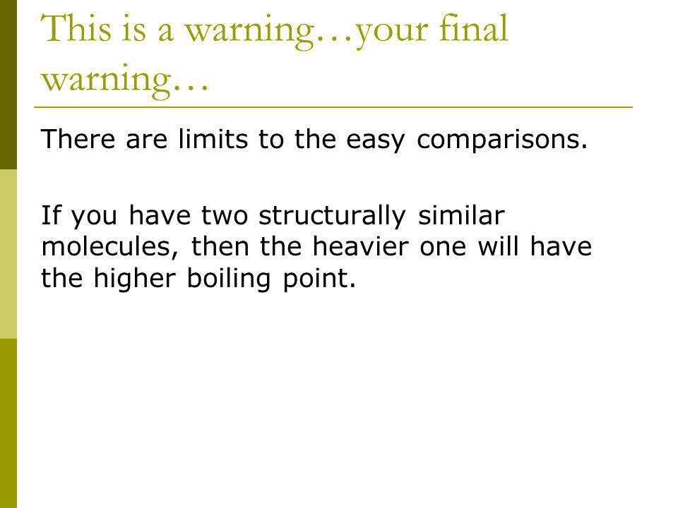 This is a warning…your final warning… There are limits to the easy comparisons. If you have two structurally similar molecules, then the heavier one w