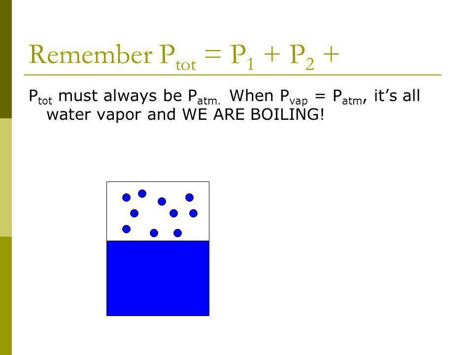 Remember P tot = P 1 + P 2 + P tot must always be P atm.