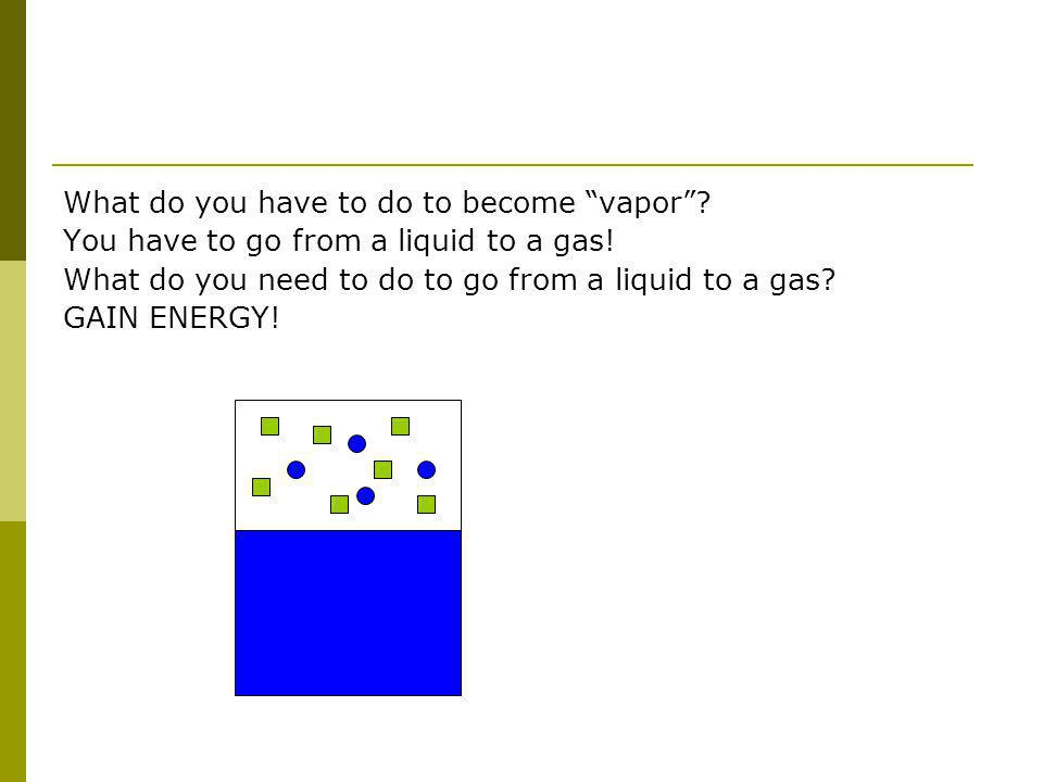 What do you have to do to become vapor. You have to go from a liquid to a gas.