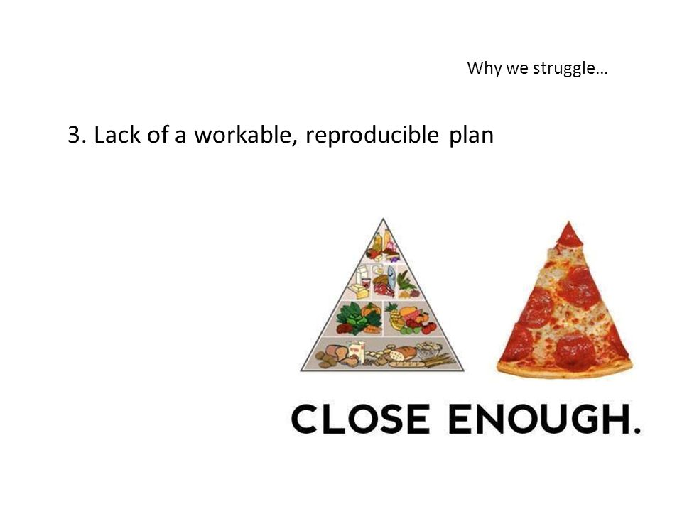 3. Lack of a workable, reproducible plan Why we struggle…
