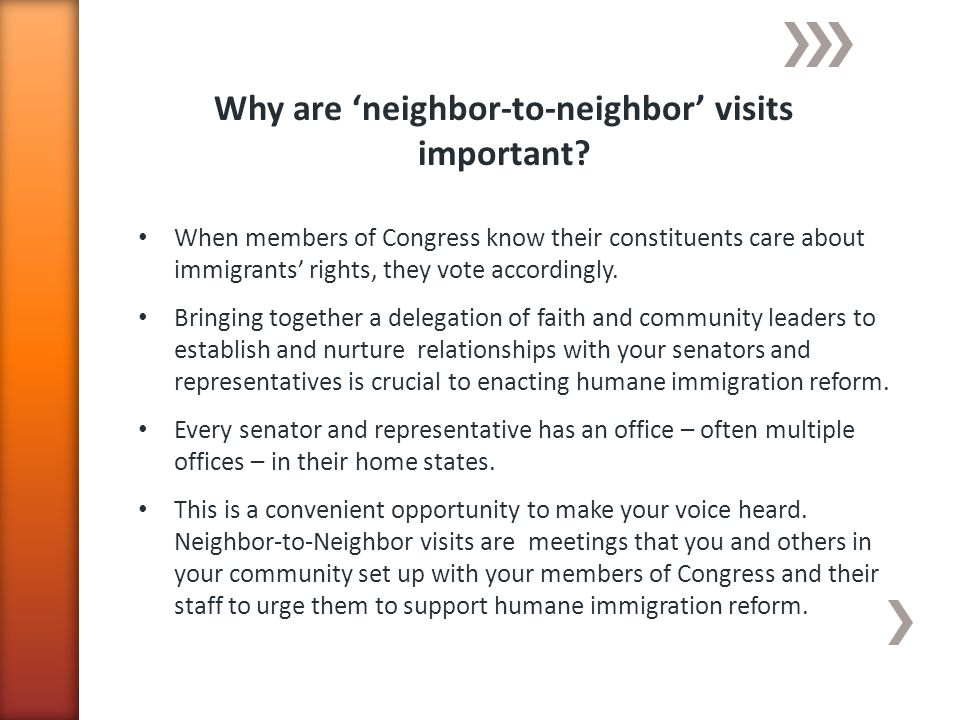 Why are neighbor-to-neighbor visits important.