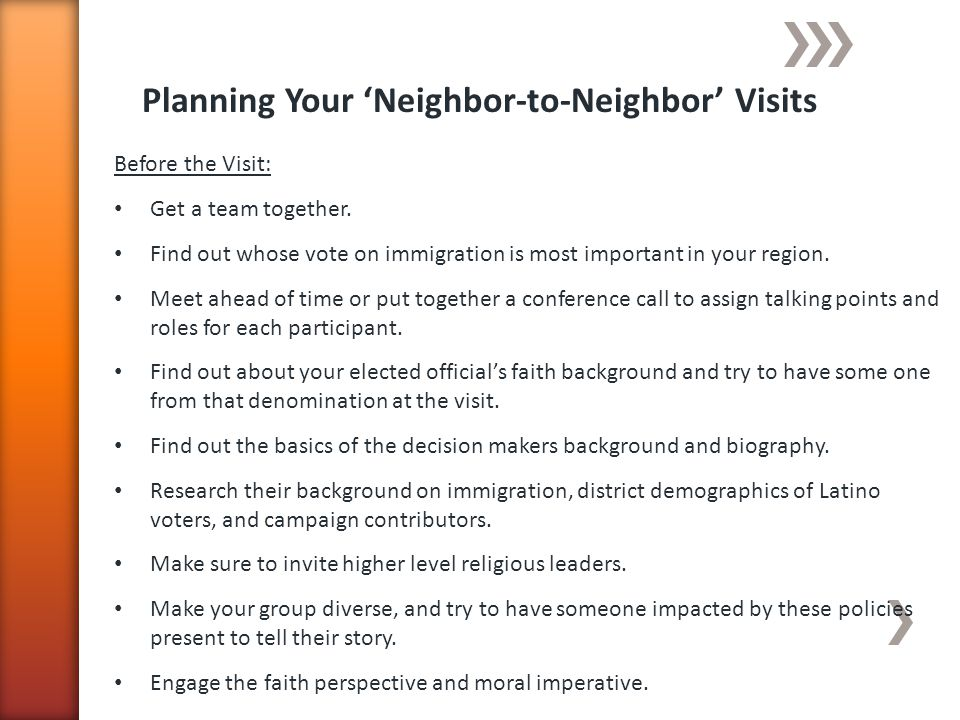 Planning Your Neighbor-to-Neighbor Visits Before the Visit: Get a team together.
