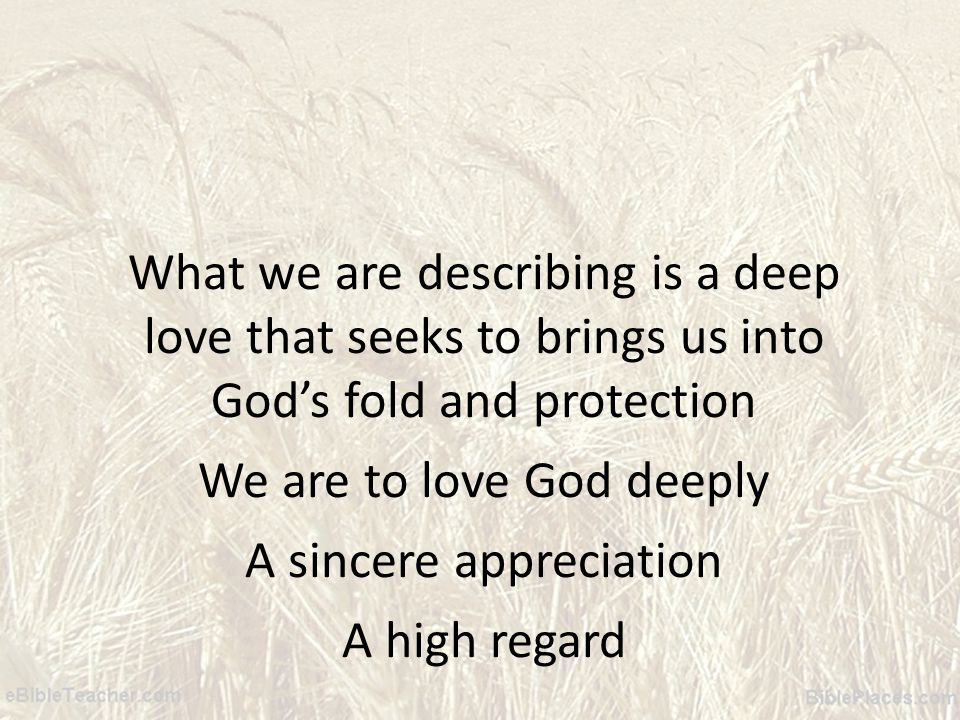 What we are describing is a deep love that seeks to brings us into Gods fold and protection We are to love God deeply A sincere appreciation A high regard