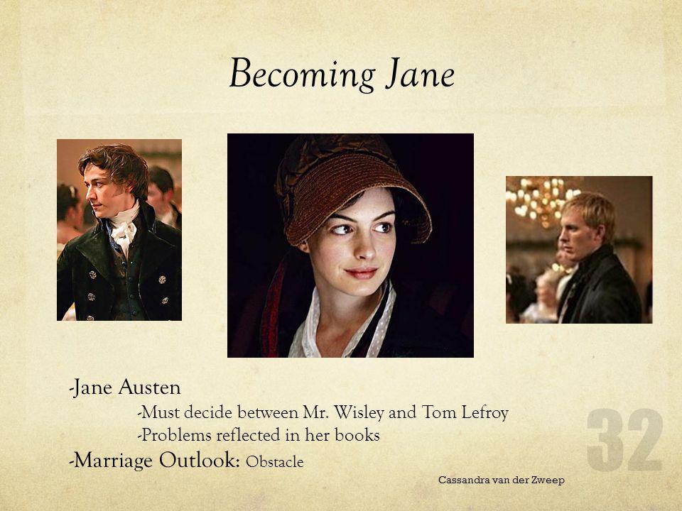Becoming Jane Cassandra van der Zweep -Jane Austen -Must decide between Mr.