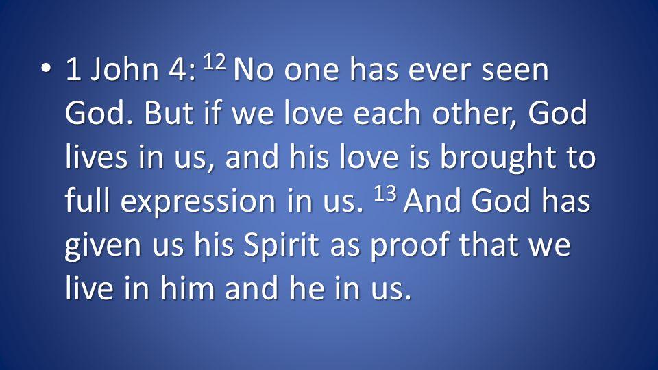 1 John 4: 12 No one has ever seen God.
