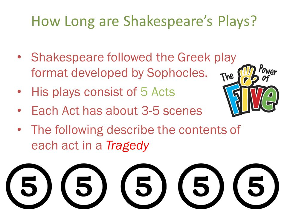 How Long are Shakespeares Plays. Shakespeare followed the Greek play format developed by Sophocles.