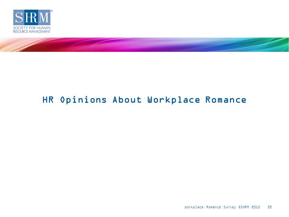 Workplace Romance Survey ©SHRM 201322 HR Opinions About Workplace Romance